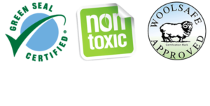 signature collage with logos for green seal, non-toxic, and woolsafe