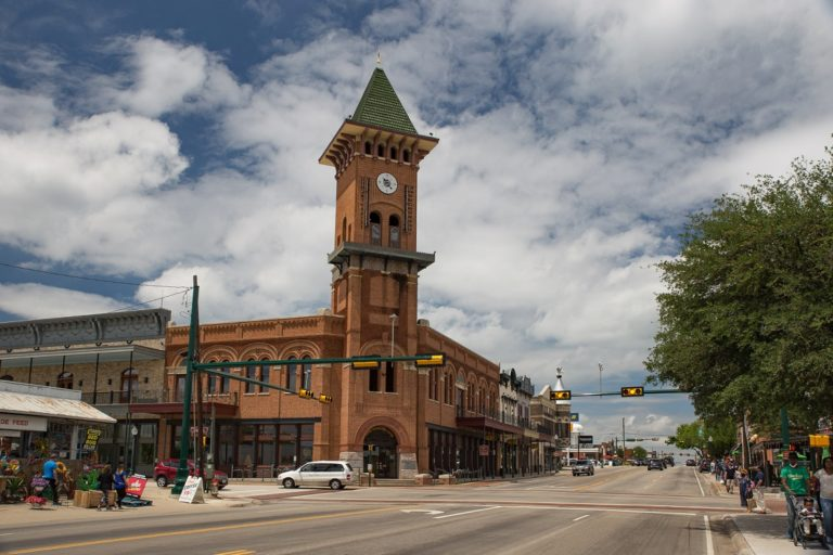 downtown Grapevine with clock tower